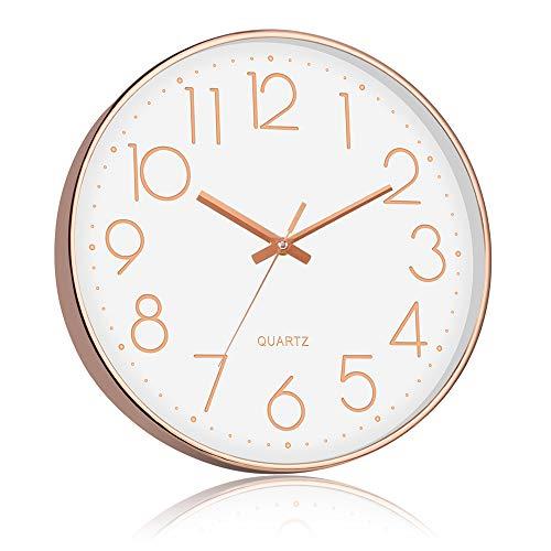 STARVAST Reloj de Pared de Oro Rosa de 12 Pulgadas