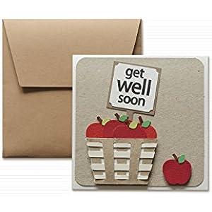 Get well - Gute Heilung - rote Apfel - Grußkarte mit Umschlag (12 x 12 cm) - handgemachte Karte - freier Raum nach innen