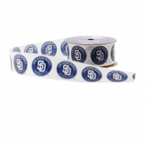 Offray MLB San Diego Padres Stoff Band 1-5/16-Inch by 12-Feet Weiß / Blau (Stoff San Diego)