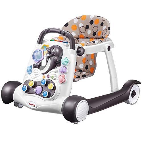 Btybess Baby-Wanderer Anti-o-Bein-Baby-Multifunktions-Trolley, faltbar Aktivität Walker Helfer mit einstellbarer Höhe, Anti-Rollover-Jungen und Mädchen Baby-Tätigkeits-Walker mit hoher Rückenlehne Gep