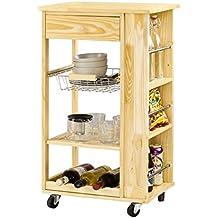 SoBuy® Carrito de servir, carrito de cocina, natural, FKW12-N,ES
