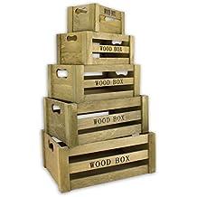 Decorativo juego de 5cajas de almacenamiento–2colores–anidadas de madera Vintage de madera caja de madera caja de vino