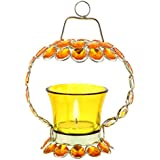 Diwali Home Decor | Diwali Decorative Items For Home, Room, Bedroom, Kitchen| Yellow Crystal Tealight Candle Holder Stand Handicraft Item