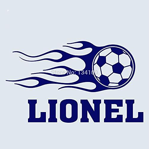 Kundengebundener Boy Name Soccer Ball Feuer Vinyl Aufkleber Wandtattoo Ration-Sie wählen Name und Farbe 40 * 60cm