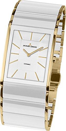JACQUES LEMANS Damen Analog Quarz Uhr mit Edelstahl Armband 1-1940E
