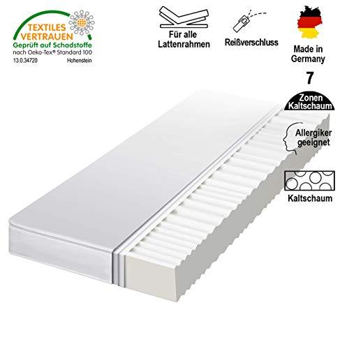 HydroCell 7-Zonen Rollmatratze Kaltschaummatratze - Härtegrad 2in1 H2 & H3 - Matratze Made IN Germany (90 x 200 x 12 cm, H2)