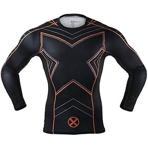 M.Baxter Camiseta de compresión deportiva para hombre de manga corta remera running y fitness (F,