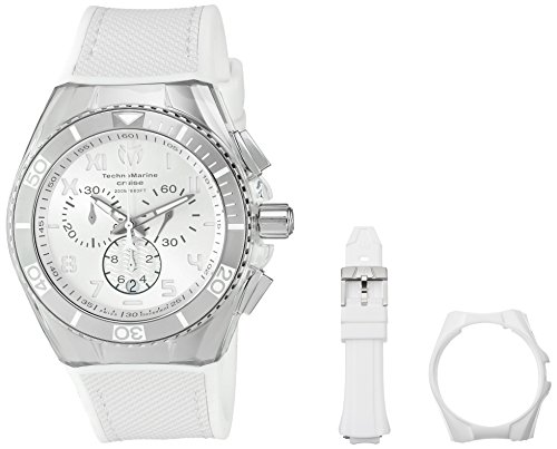 TechnoMarine TM-115009 Orologio da Polso, Display Cronografo, Uomo, Bracciale Silicone, Bianco