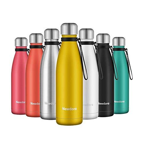 Newdora bottiglia acqua in acciaio inox 500ml, tazze da viaggio, borraccia termica isolamento sottovuoto a doppia parete, per campeggio di sport esterni escursionismo escursioni in bicicletta, giallo