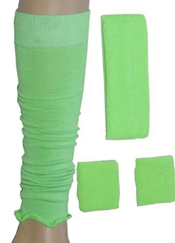 Neon Sweatband/ Headband, 2 Wristbands & Legwarmers Set 1980s Fancy Dress (Neon Green) by Blue Planet (Dress Fancy 1980 Kostüme)