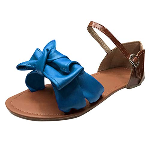 Sandalen mit Groß Bowknot für Damen/Dorical Mädchen Frauen Sommer Strandschuhe Ebeneschuhe Schuhe Süßen Stil Elegant Peep Toe Sandals, Damenschuhe 35-43 EU Ausverkauf(Blau,38 EU)