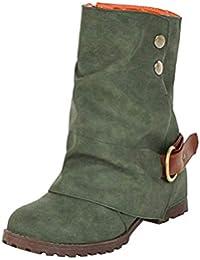 23ee658dda4f13 ZHRUI Mode warme Kurze Lederstiefel Damen Reißverschluss Kunstleder  Patchwork Wohnungen Schuhe (Farbe   Grün
