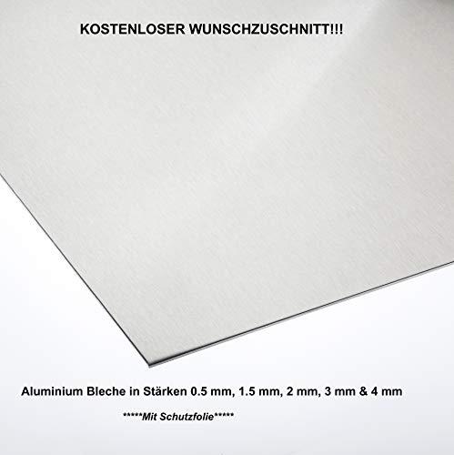 Alublech 0,5 mm 1 mm 1,5 mm 2 mm 3 mm 4 mm Aluminiumblech ALMg3 Zuschnitt inkl Folie, Größe nach Maß Alu Neu (1000 mm x 150 mm, Alu 4,0 mm dick)