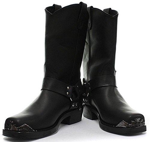 Bottes boots homme cuir véritable noir punk rock goth boucle et bout en métal Noir
