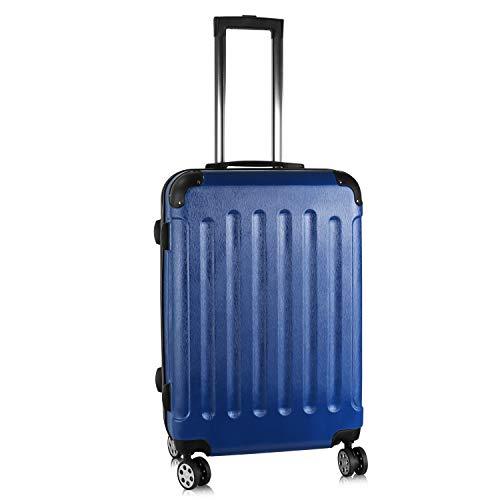 PRASACCO Reisekoffer Handgepäck Für Flug Hartschalen Koffer Trolley TSA Ultraleicht ABS Anti-Kratzer Erweiterbar 4 Rollen (Blau, 68x45x28cm)