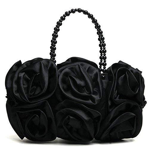 Abend Handtaschen Kupplungen (Satin Rose Pure Farbe Abendtasche Abend Kupplungen für Frauen Handtasche Hochzeit Handtaschen mit Perlen Kette Griff schwarz)