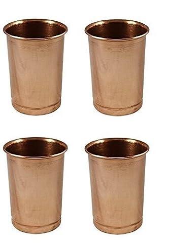 Water Glasses Set of 4, Pure Copper Tumblers Ayurvedic Water Drinking Glasses, Capacity 350 Ml