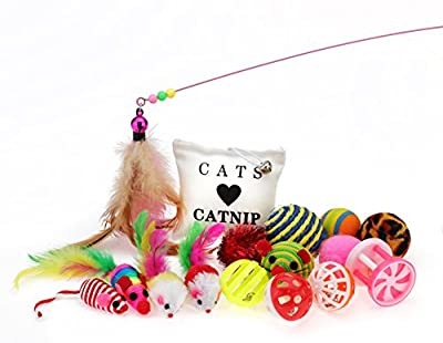 Cat Toys Variety Pack 16pcs Including Mice, Balls, Bells, Feathers, Wand and Crinkle