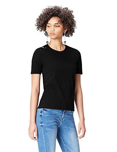 FIND T-shirt con Spilla Donna , Nero (Black), 40 (Taglia Produttore: X-Small)