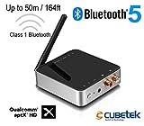 CUBETEK 50m Long Range Bluetooth Transmitter Receiver V5.0, with AptX HD Low Latency