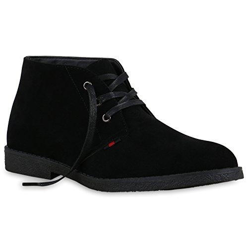 Herren Desert Boots Schnürer Wildleder-Optik Stiefeletten Profilsohle Schnür Schuhe 129560 Schwarz Velours 42 | Flandell