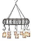 Vertrieb MB homefashion Windlichter, Gartenlaterne, Kerzenhalter, Hängekranz, Hängeleuchter, Kerzenleuchter, Metall braun mit Rost-Patina, oval 49 x 35 cm, mit Ablagegitter & mit 10 Teelichtern