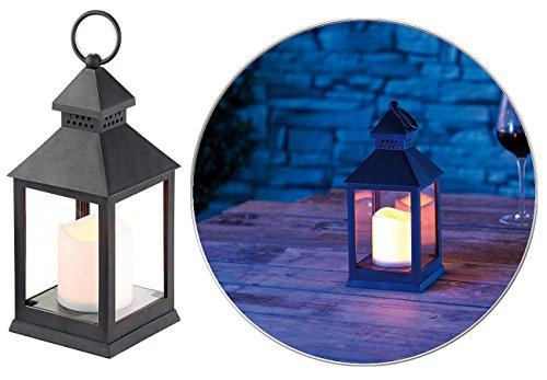 Lunartec Grablaterne: Laterne mit flackernder LED-Kerze und Timer, Batteriebetrieb, schwarz (Grableuchte)