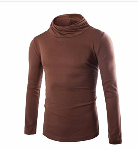 Men's Slim Thin Turtleneck Long Sleeved Solid Color Pullover Sweatshirts Sienne