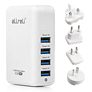 USB Charger, aLLreLi 4-Port Smart IC Wall Charger w/ UK, EU, US, AU International Plug (Interchangeable), Portable 34W / 6.8A Travel Charger for Apple iPhone, iPad, Samsung Galaxy, Smartphone, Tablet, Power Bank and More - White