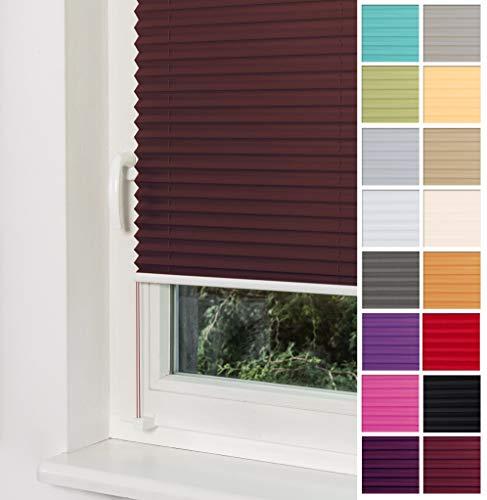 Home-Vision Plissee Faltrollo ohne Bohren mit Klemmträger / -fix (Braun, B85cm x H150cm) Blickdicht Sonnenschutz Jalousie für Fenster & Tür