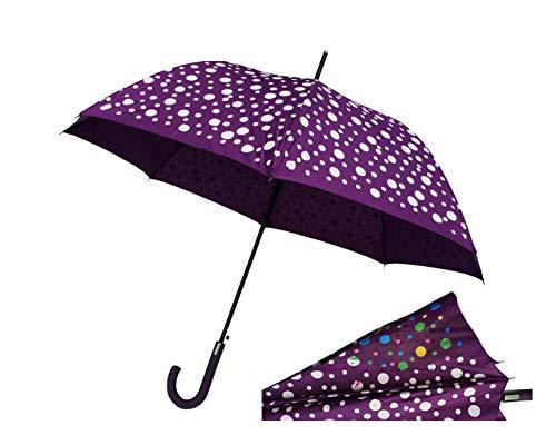 Paraguas Cambia Color 120 cm Antiviento Apertura automática Mujer Infantil niño niña (Lila)