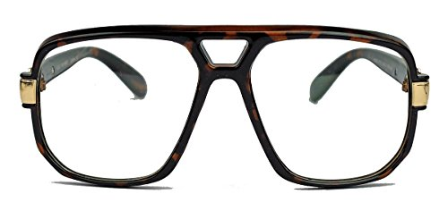 amashades Vintage Nerdies Kultige 70er 80er Jahre Brille Sonnenbrille o. Nerdbrille Retro Kassengestell Hornbrille HN14 (Tortoise/Clear Lens)