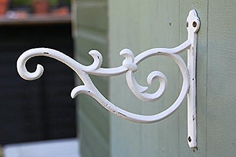 Cast Iron Ornate Hanging Flower Basket Bracket Hook (Design 2 Antique white)