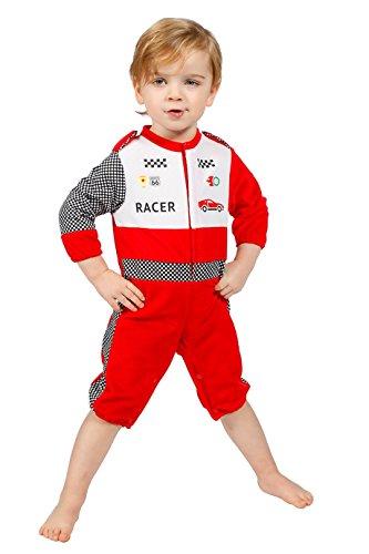 Kostüm Overall Racing - Rennfahrer-Kostüm Klein-Kinder Jungen Overall Rot Racing Formel 1 Formula 1 Renn-Anzug Karneval Fasching Hochwertige Verkleidung Fastnacht Größe 74 Rot/Weiß