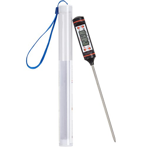 KAGEN Digitales Küchenthermometer mit LCD-Display - Haushaltsthermometer / Einstichthermometer zum Kontrollieren der Temperatur von Lebensmitteln wie Fleisch, Marmelade oder Babynahrung / Braten / Grillen / Kochen - mit 2 Jahren Geld-zurück-Garantie