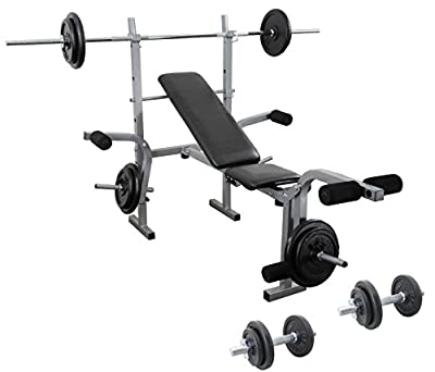 Weight Training Set Barbell + Dumbbell + Weights Bench Complete CAST IRON Multi Gym Set from UK Fitness