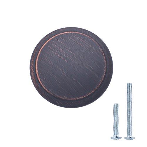 AmazonBasics - Schubladenknopf, Möbelgriff, modern, mit runder Platte oben, Durchmesser: 2,95 cm, Geöltes Bronze, 10er-Pack