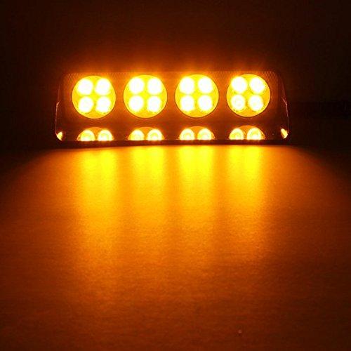 LEDs Auto Warnleuchte Blitzleuchte Frontblitzer mit 5 Saugnäpfen 16 Modus 12V 16W (gelb) (Led Blitzleuchten)