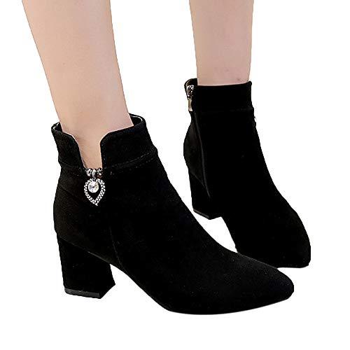 Stiefel Damen Boots Frauen Stiefel Freizeitschuhe Elegant Stiefel Ankle Boots Hochhackige Zipper Boots Outdoor Winterstiefel ABsoar