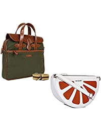THE MAKER Combo Of Brown & Green Synthetic Leather Unisex Laptop Bag With White And Orange Synthetic Leather Sling...
