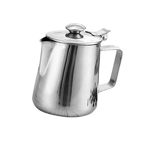 Baoblaze Milchkännchen, milchkanne edelstahl Mit Deckel, perfekt für Espressomaschinen, Milchaufschäumer, Latte Art - Silber, 350ml - Deckel Metall-krug Mit
