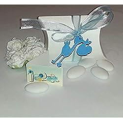 Bimbarte - une boîte ivoire porte-dragées avec médaille en bois « cygne » et étiquette nom pour bonbonnière baptême sans dragées (rose x fille et bleu ciel x garçon) bleu ciel