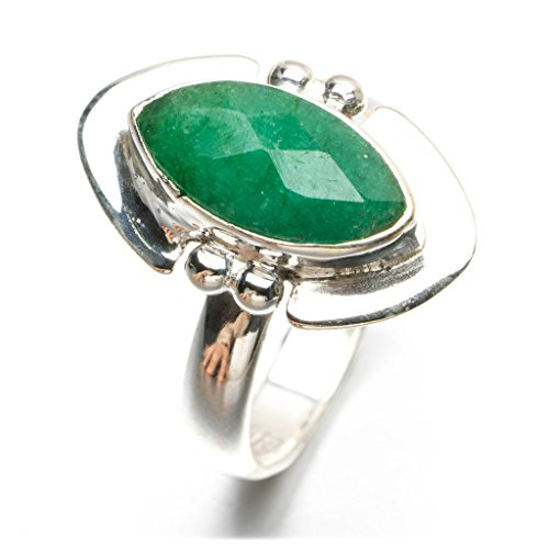 stargems (TM) Natural verde esmeralda anillo de plata de ley 925, Reino Unido tamaño N 1/2
