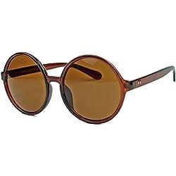 XL Damen Sonnenbrille große runde Retro Brille im Hippie Style S34 (Cognac)
