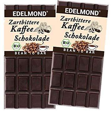 Edelmond echte Kaffee Schokolade. Bio Zartbitter Kakao und Mokka - Espresso Röstkaffee. Vegan und Fair-Trade (2 Tafeln)