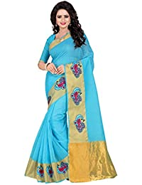 Febo FashionWomen's Cotton Silk Sky Blue Colour Saree