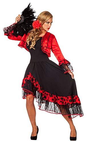 Erwachsene Kostüm Für Spanierin Damen - narrenkiste W4269-40 schwarz-rot Damen Spanierin-Seniora-Seniorita Kostüm-Kleid Gr.40