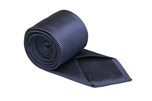 Notch Krawatte aus Seide für Herren - Marineblaue Basis und winzige Punkte in Weiß (Seide Winzige)