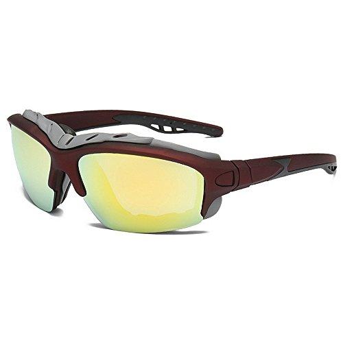 Persönlichkeit Übergroßen Umrandeten Sport Sonnenbrille Polarisierte Farbige Linse UV400 Schutz Fahren Radfahren Laufen Angeln Golf Brille (Farbe : Gold)
