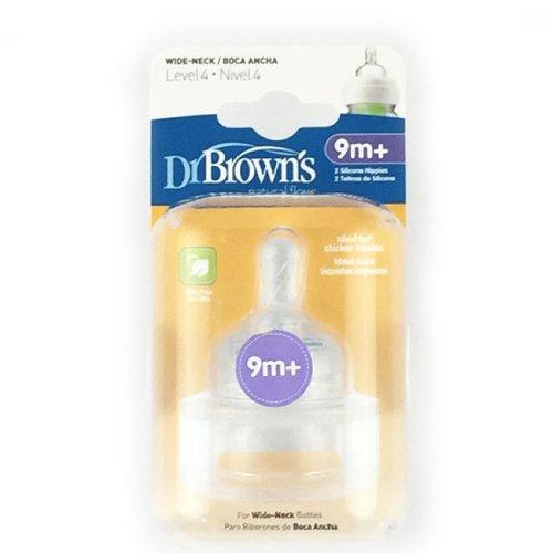 Dr Brown 's Silikon Weithalssauger Sauger 2in einer Packung 9m + (Level 4)